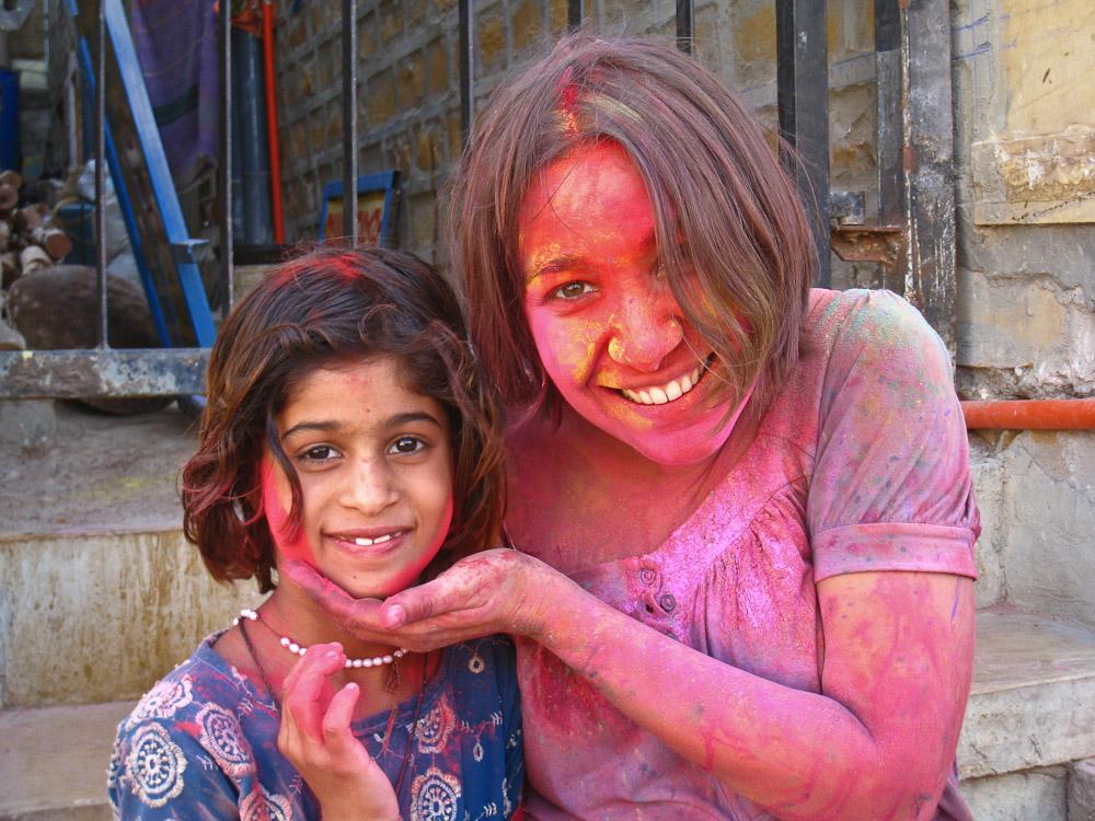 Holi en Inde - Avec petite fille Holi Jaisalmer