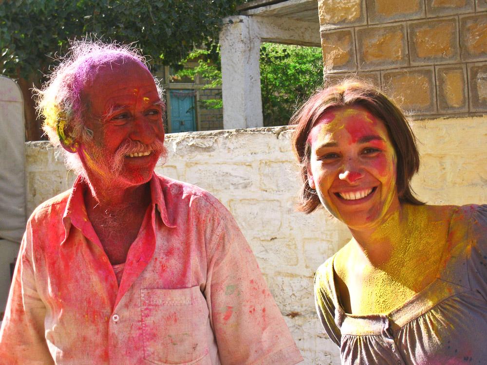 Holi en Inde - Avec un vieux de Jaisalmer