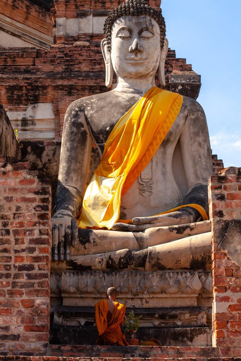 Temple Wat Yai Chai Mongkhon, parc archéologique Ayutthaya, Thaïlande