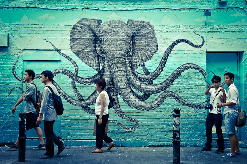 Street art a Londres Elephant