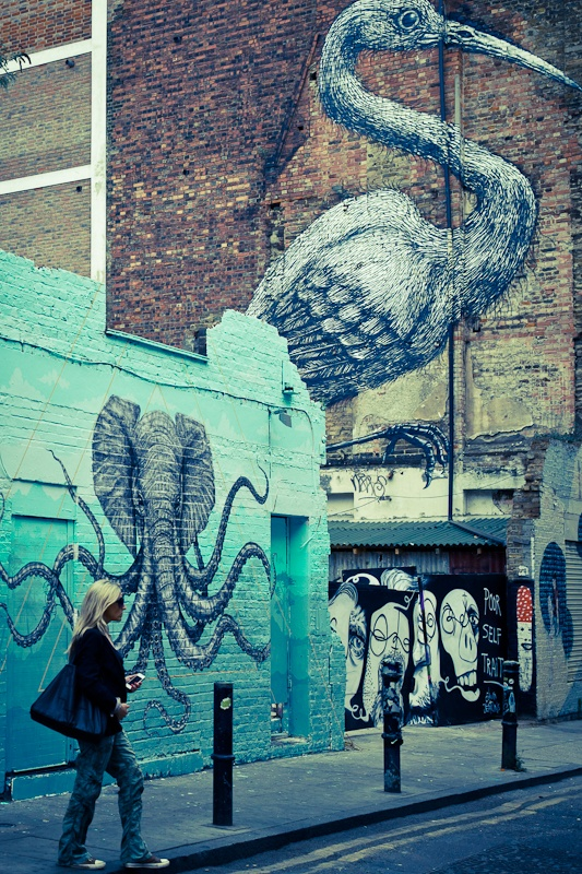 Street art a Londres Heron