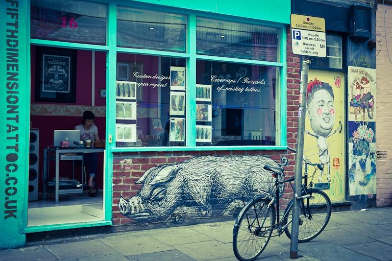 Street art a Londres - le cochon