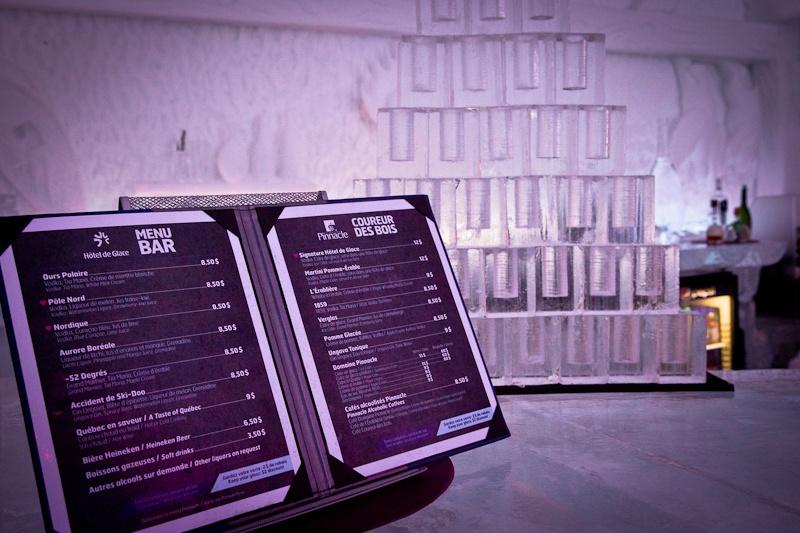 Hôtel de glace - carte des cocktails
