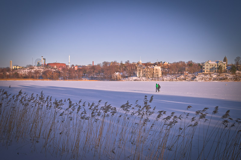 Trek urbain à Helsinki - Sur la baie Töölönlahti gelée