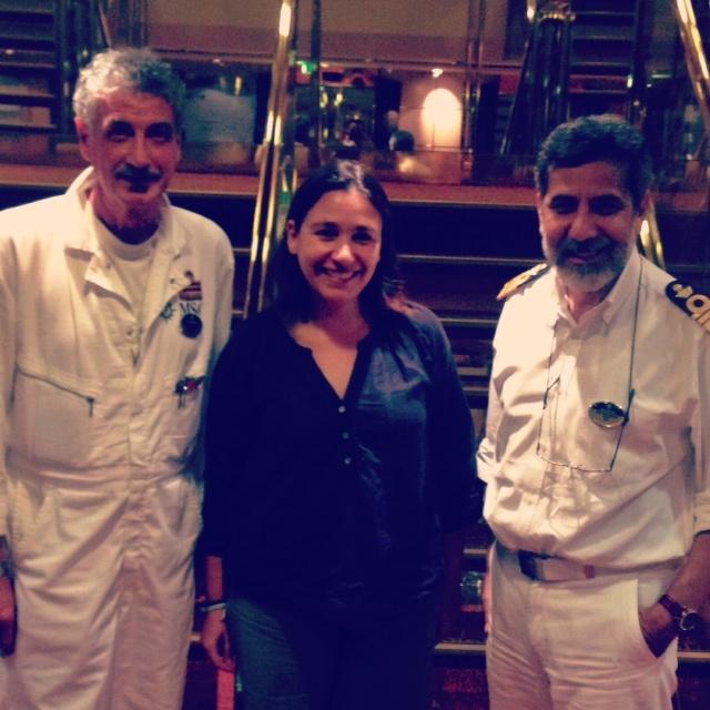 Avec le commandant de bord du MSC Musica