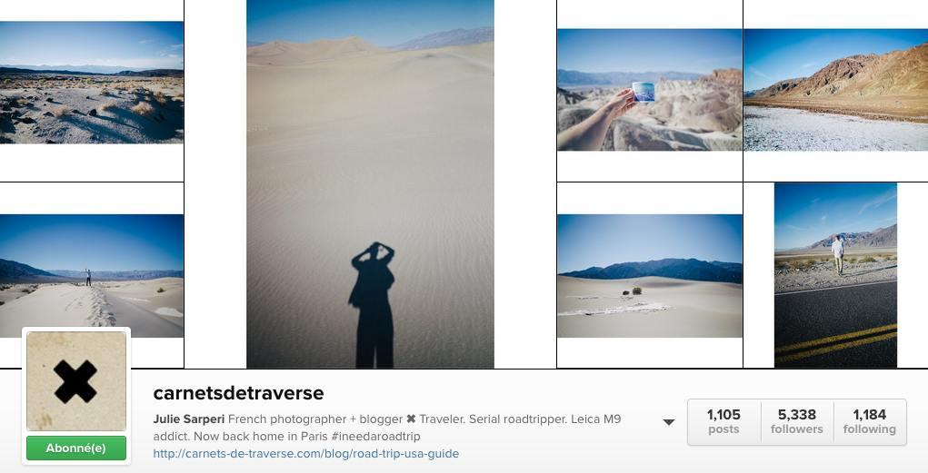Carnets de traverse instagram