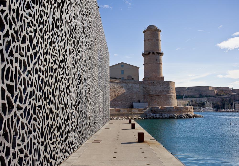 Marseille extérieur Mucem - Vue sur le fort Saint Jean