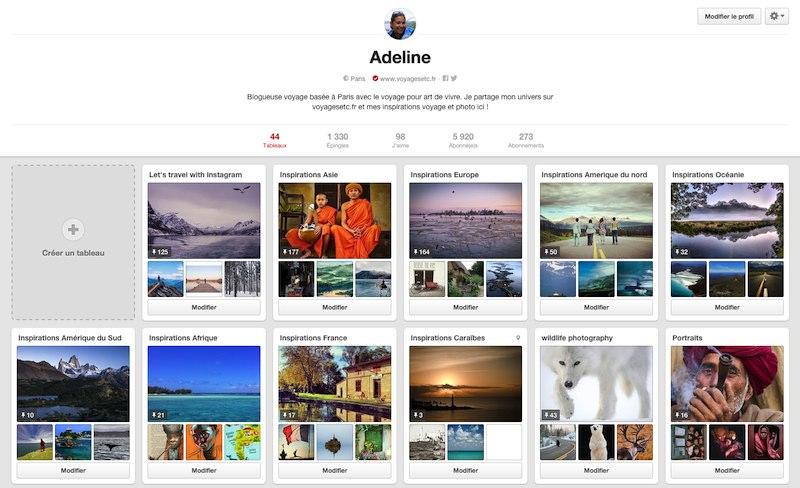 Voyager avec Pinterest - mon profil