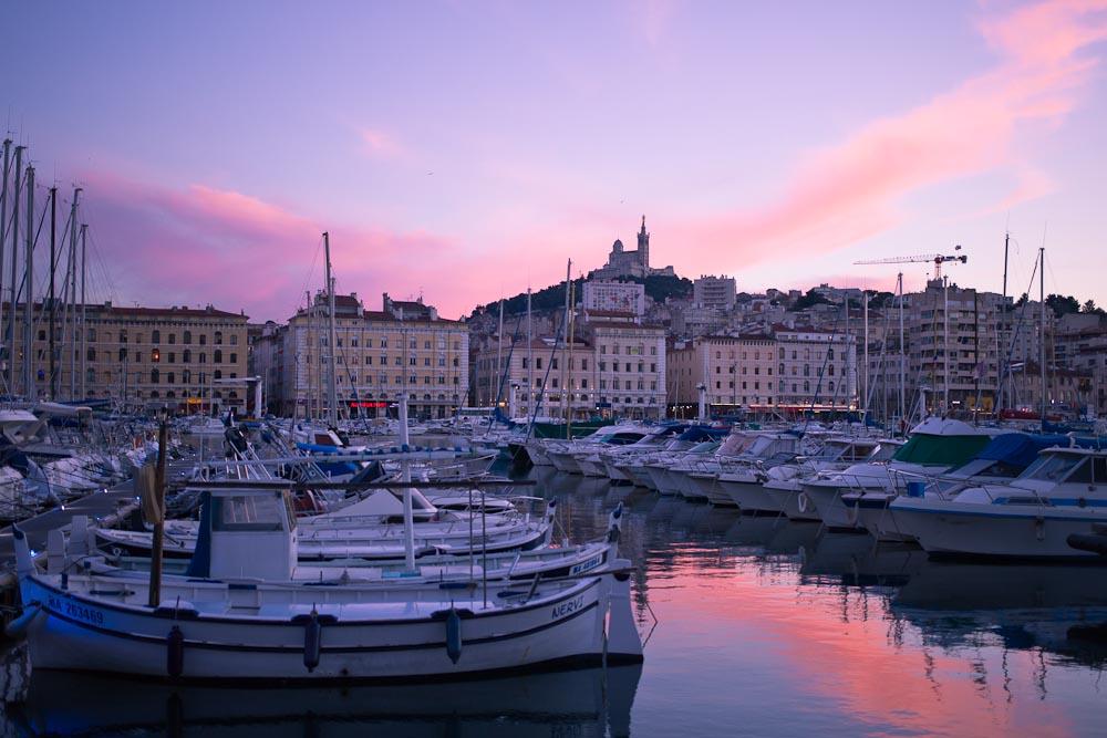Marseille -coucher de soleil sur le vieux port