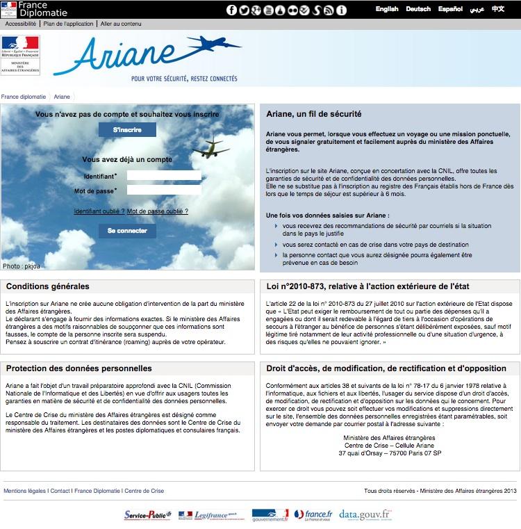Sécurité en voyage - Ariane page d'accueil