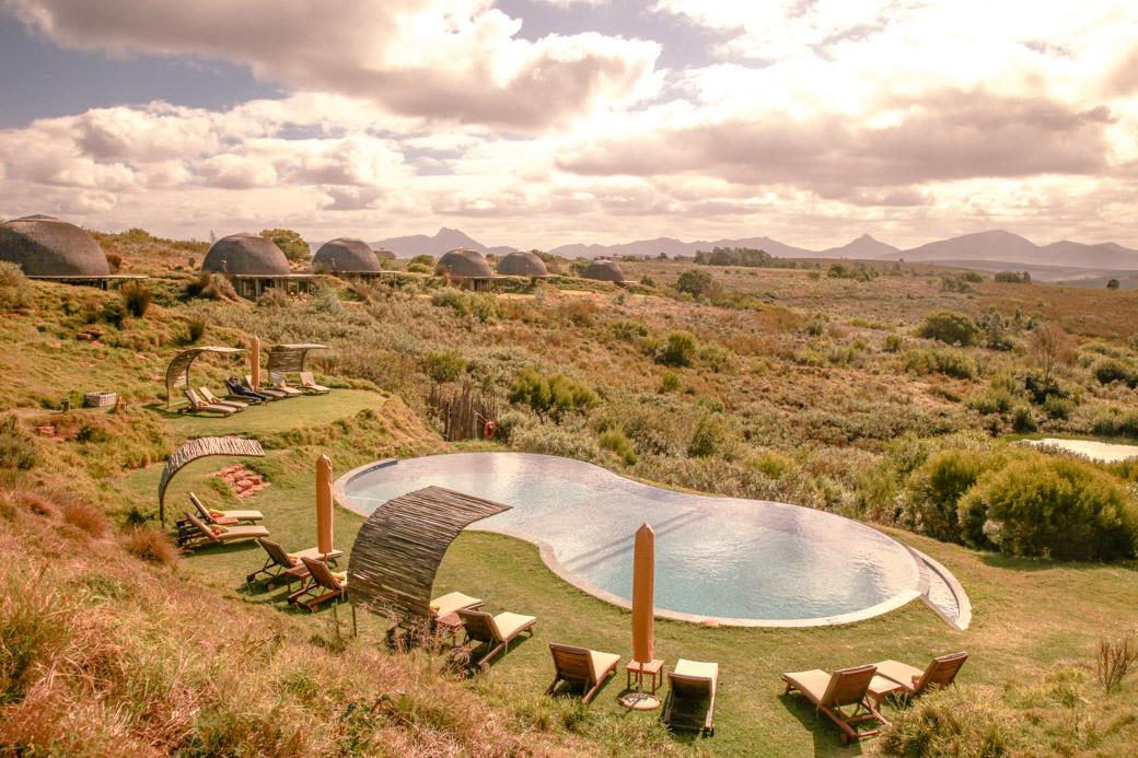 Vue sur la piscine du Gondwana game reserve