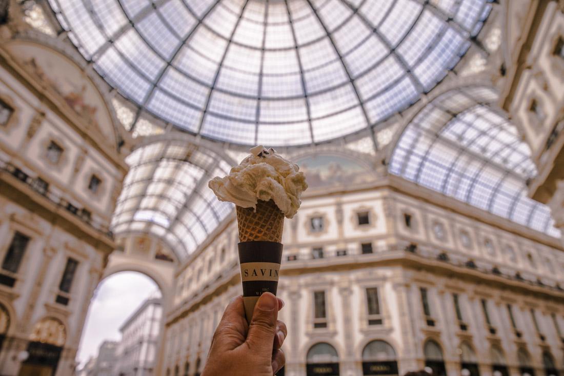 24 heures à Milan - glace dans la gallerie Vittore emmanuele