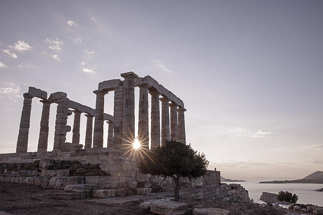 Athènes Grèce - coucher de soleil sur le cap Sounion