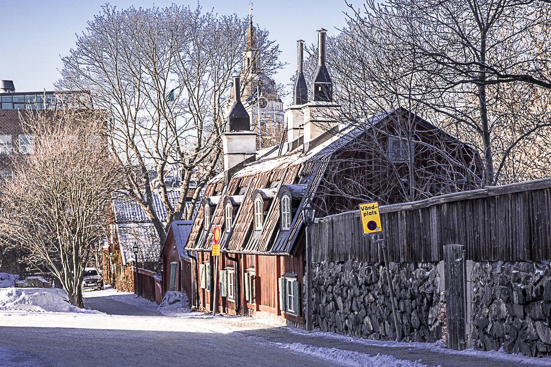 Juste au-dessus du musée Fotografiska, le quartier Fjallgatan et ses petites maisons en en bois est charmant