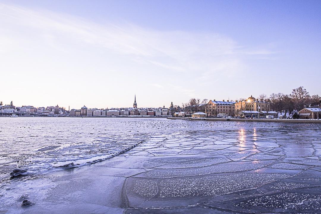 Coucher de soleil du Stockholm en hiver