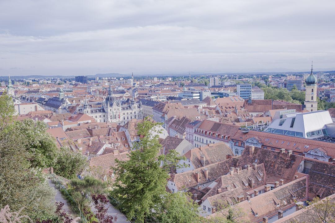 Graz - coup de coeur en Autriche pour la vue sur l'hotel de ville depuis Schlossberg