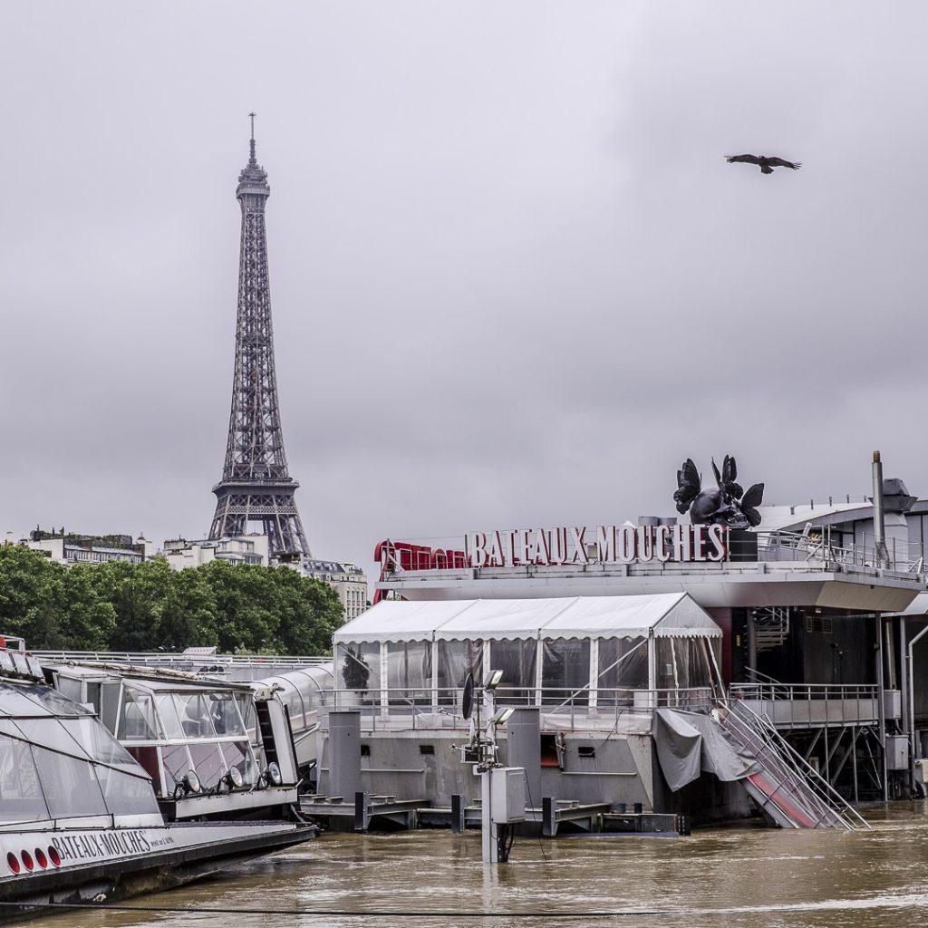 Inondations de Paris 2016 - Les bateaux mouche à quai