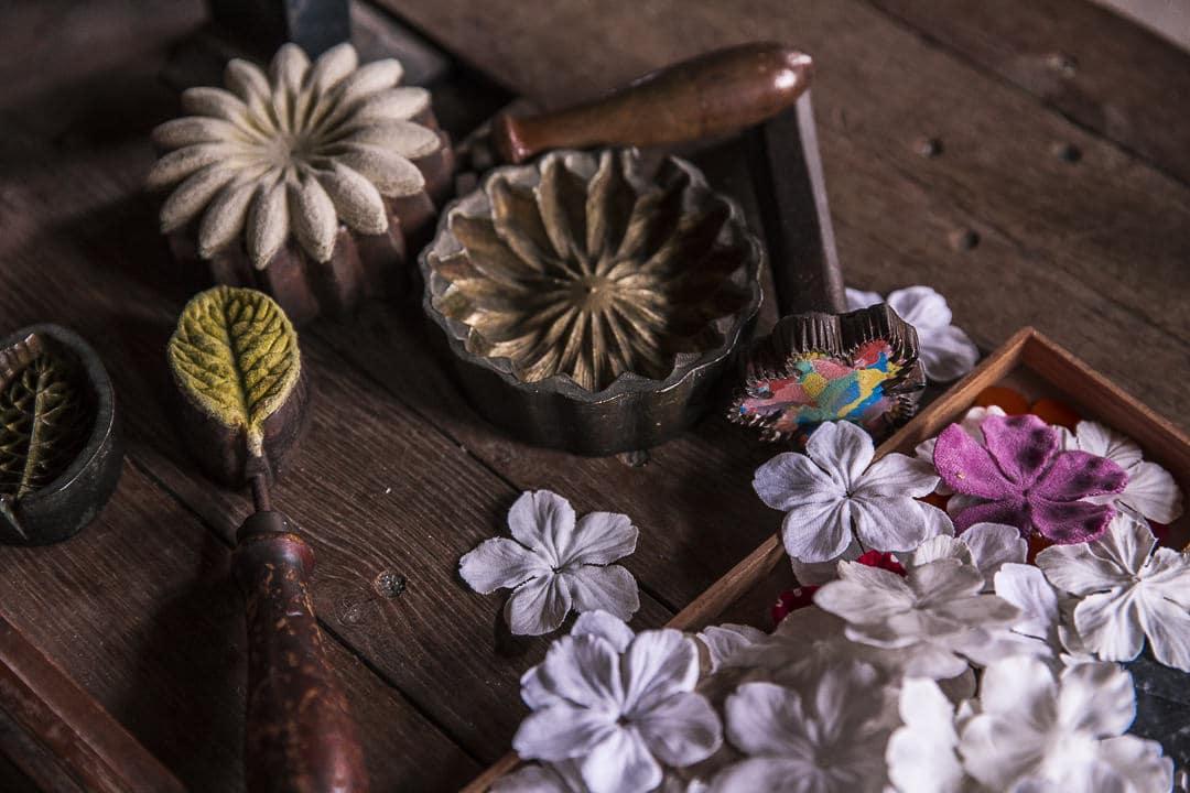 Les moules des fleurs du moulin de la fleuristerie