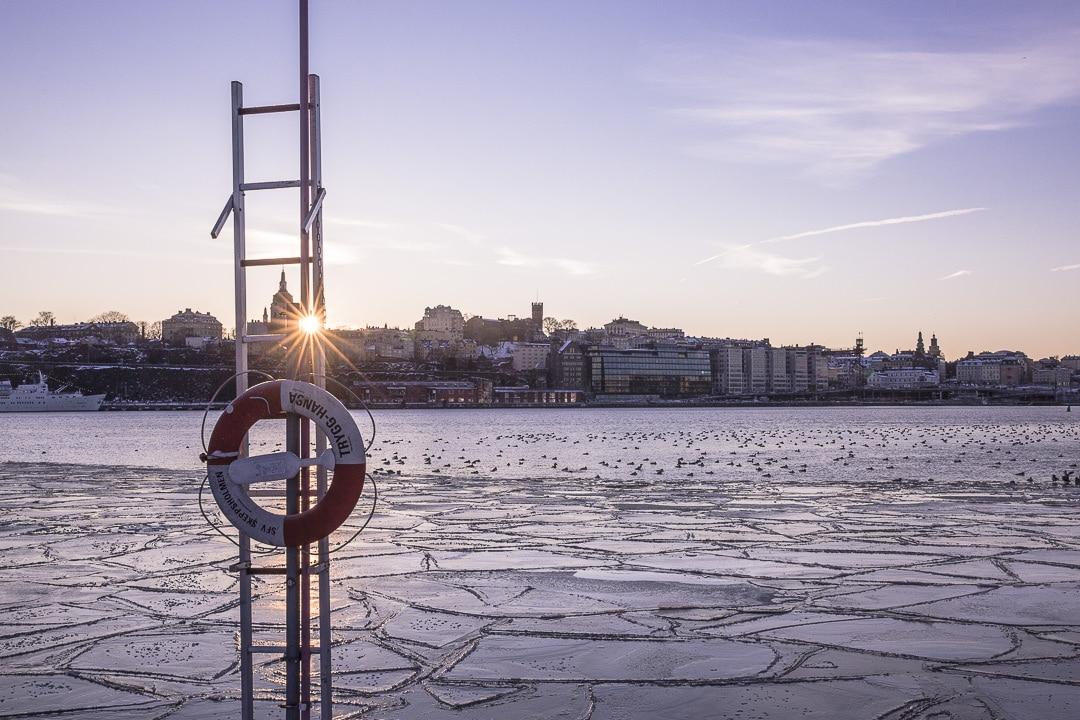 Coucher de soleil sur Stockholm en hiver