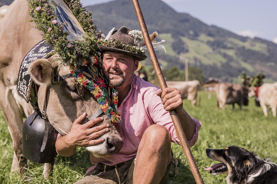 L'amour de l'éleveur pour sa vache lors de la fête des transhumances dans le Tirol en Autriche #tirol #autriche