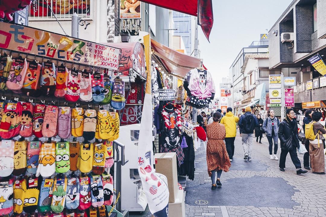 les boutiques de chaussettes de Takeshita street à Tokyo #harajuku #japon #tokyo