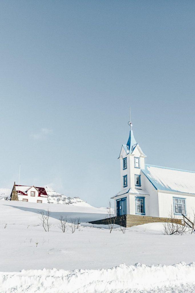 Eglise des fjords de l'est en Islande (transformée en guesthouse)