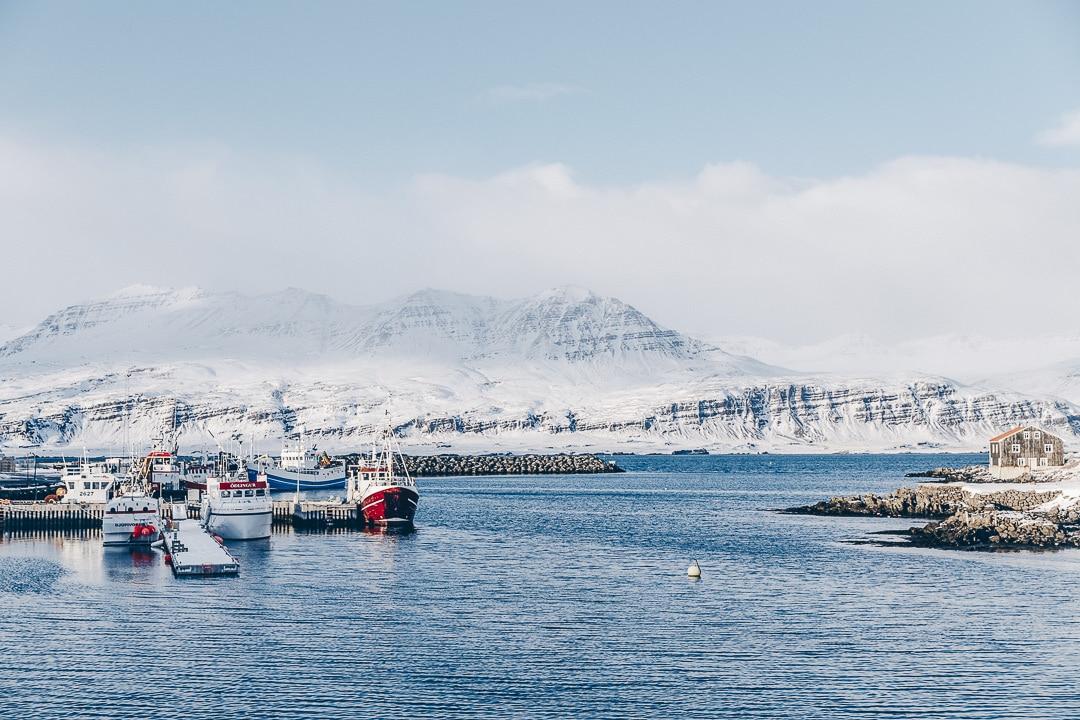 Port de djupivogur dans les fjords de l'est de l'Islande