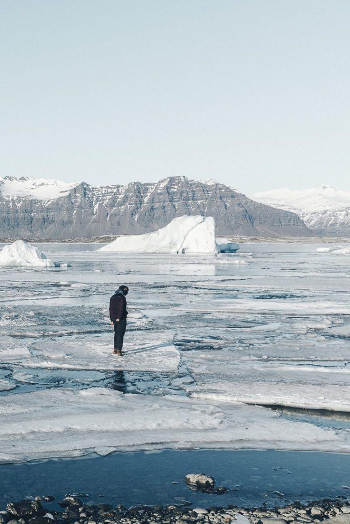 Sur le Glacier Jökulsarlon en Islande