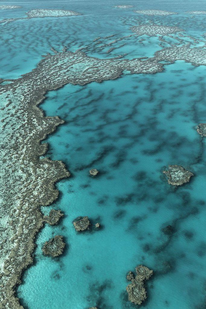 Récif de la barrière de corail vu du ciel #Australie #queensland #whitsundays