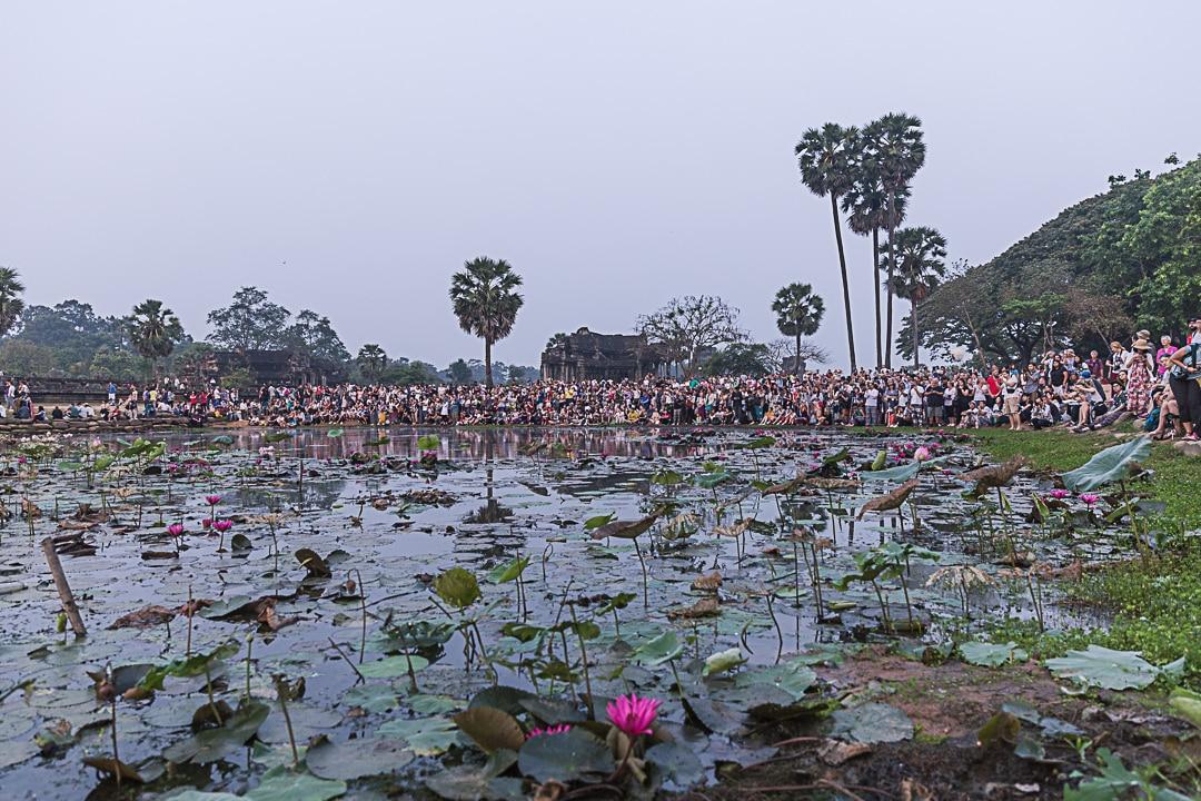 Contre-champ du lever de soleil à Angkor Vat
