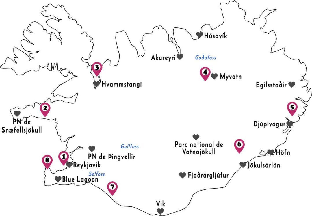 Carte de mon voyage en Islande, un itinéraire de 3 semaines sur la route circulaire numéro 1