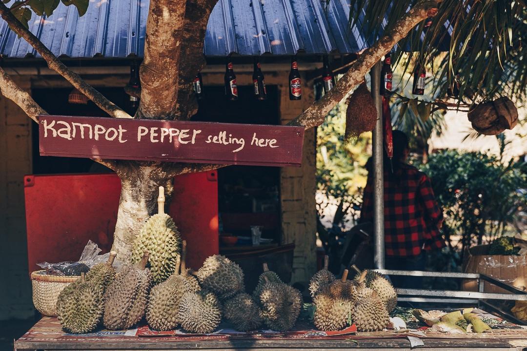 Le poivre de Kampot et les durians partout où on passe au Cambodge