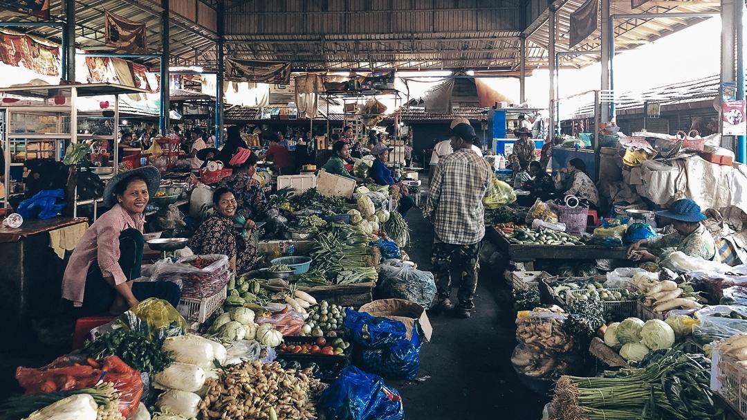Marché de Kampot, Cambodge