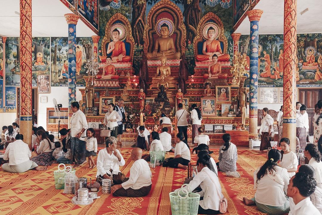 Nouvel an Khmer dans une pagode au Cambodge