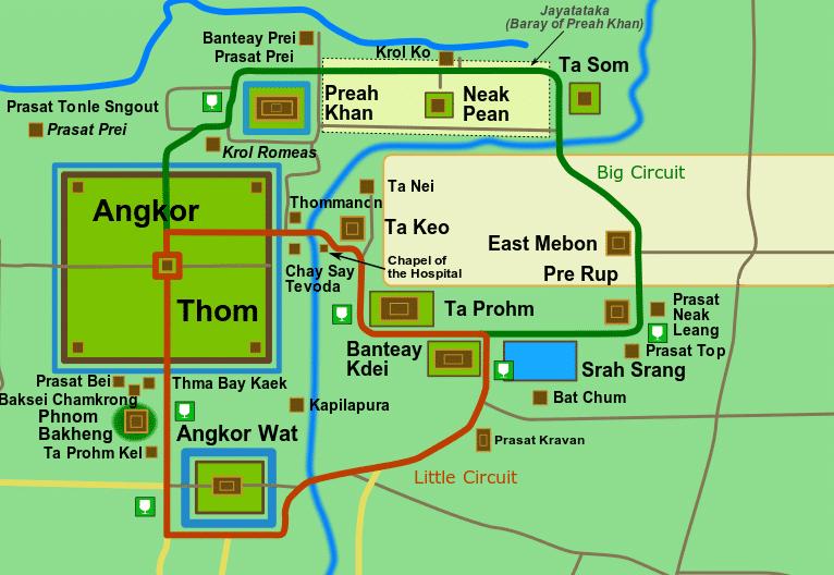 Plan des 2 circuits des temples d'Angkor
