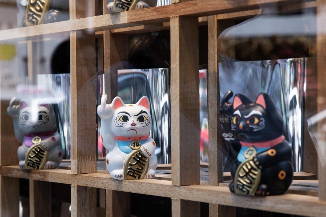 Boutique de chats un peu énervés dans Old town central à Hong KOng