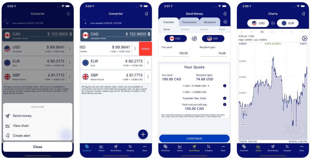 XE currency application pour taux de change