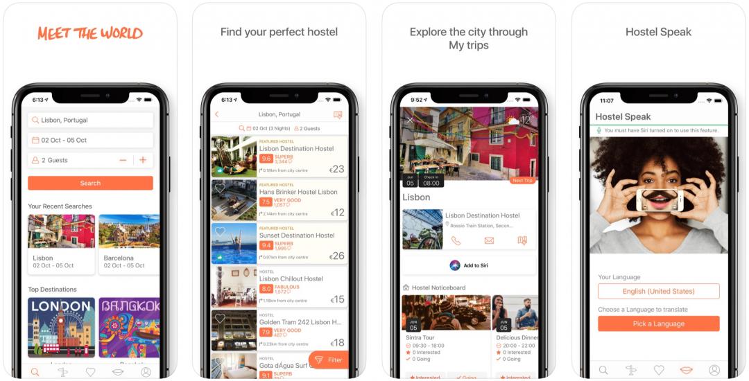 l'application hostelworld pour réserver des auberges et hostels