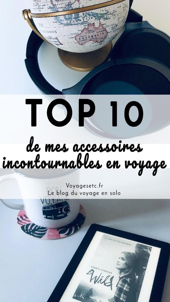 Quels sont les accessoires indispensables en voyages ? Je vous ai fait une petite liste de mes 10 incontournables que je n\'oublie (quasi) jamais ! Sac à main, casque audio, livre numérique, adaptateur... Je vous dis tout !
