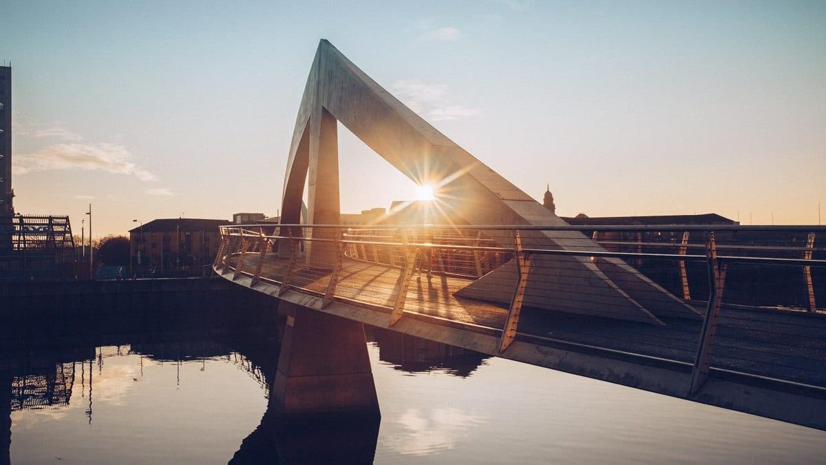 Coucher de soleil sur la Clyde à Glasgow