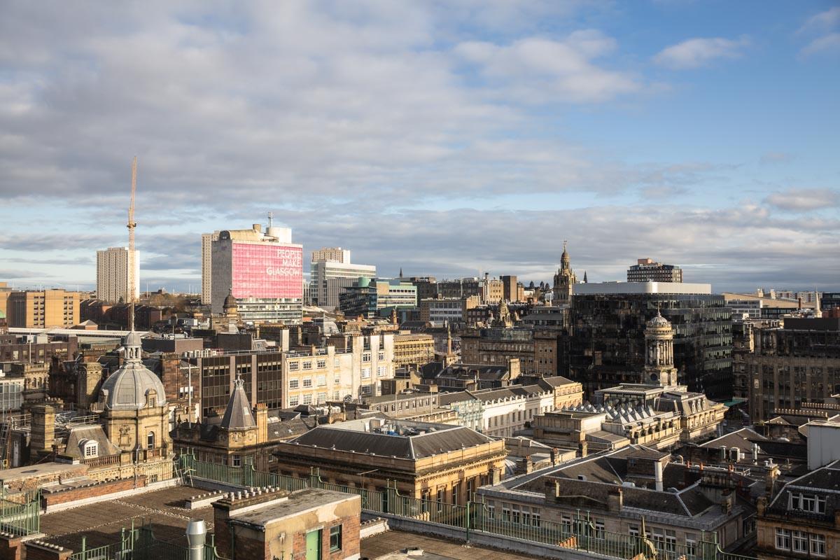 La vue depuis le haut du phare à Glasgow. l'un des points de vue les plus hauts de la ville