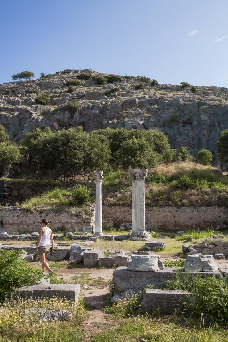 Colonnes du site archéologique de Philippes en Grèce, un site classé au patrimoine mondial de l'Unesco
