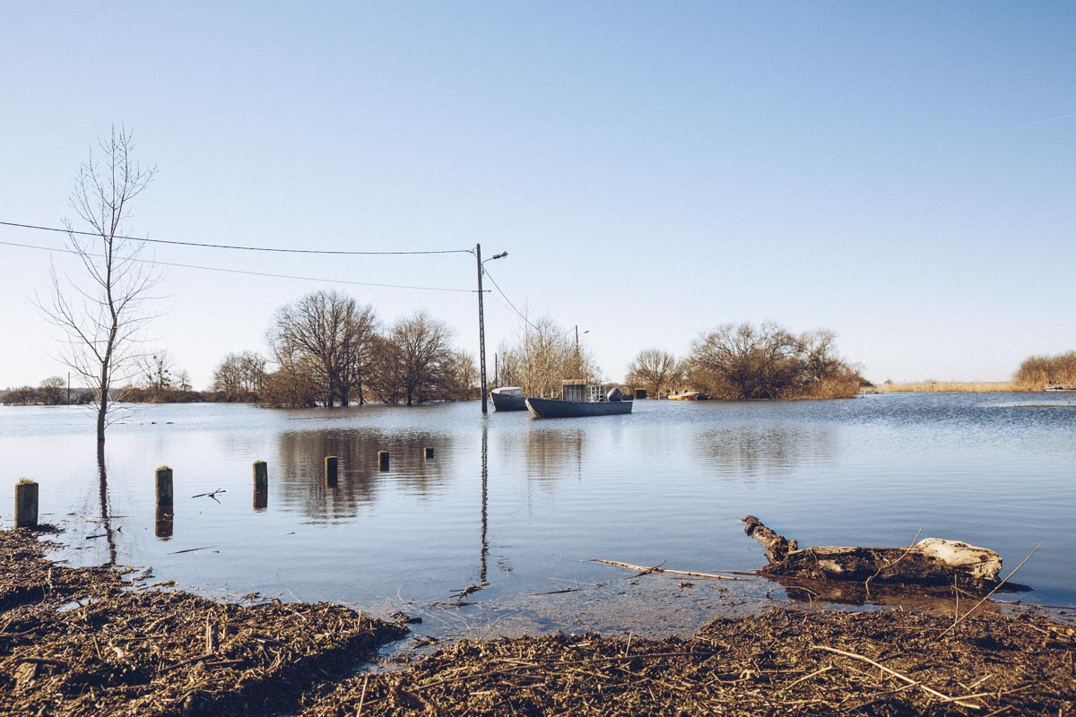 Le lac de Grand Lieu inondé à Passay, un village de pêcheurs situé sur la commune de la Chevrolière en Loire Atlantique
