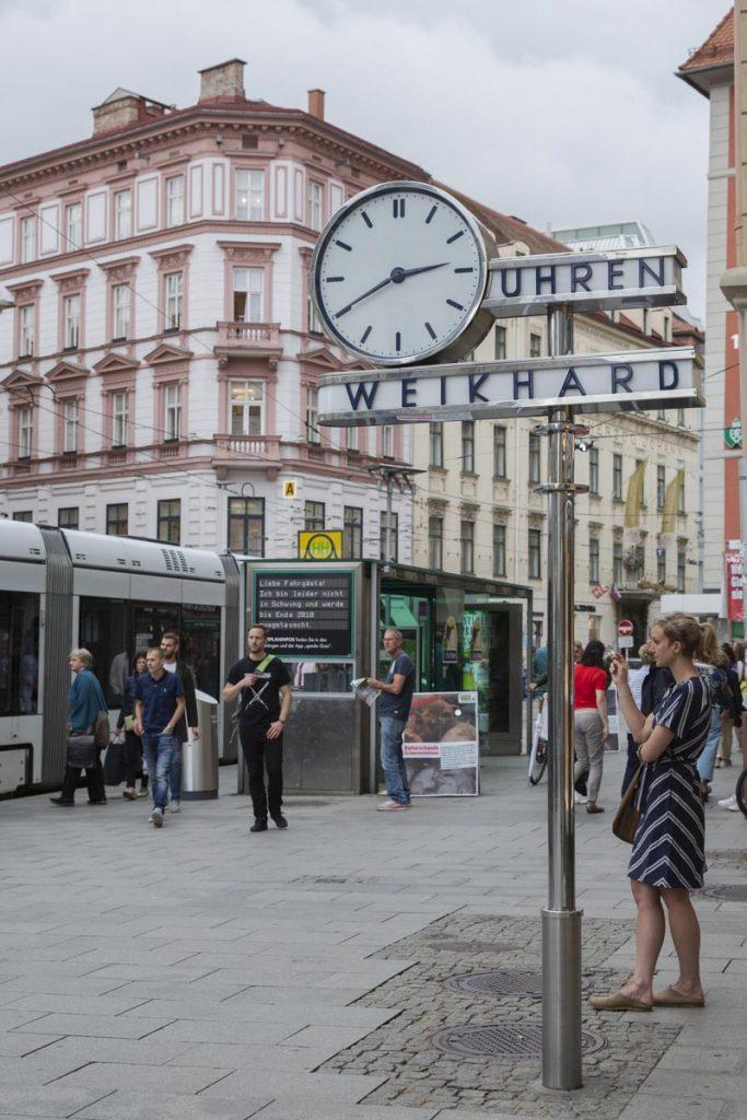 L'horloge Weikhard, le point de rendez-vous le plus connu à Graz