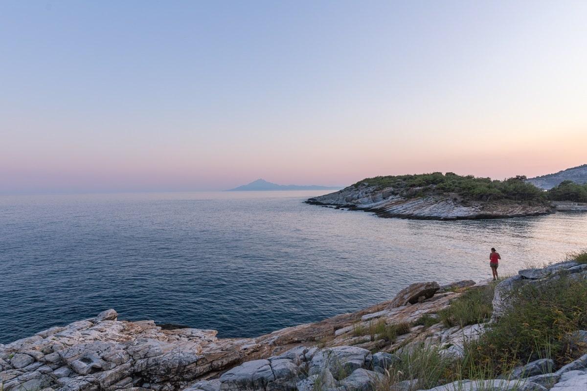 Vue sur le mont Athos depuis Thassos