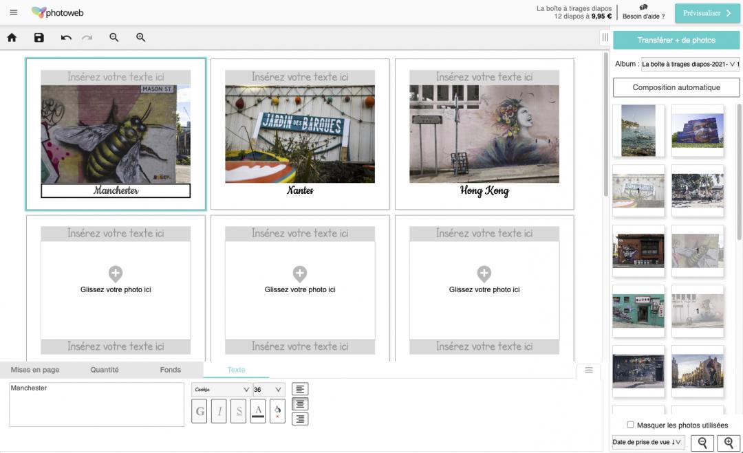 Interface photoweb pour boites à tirages diapos